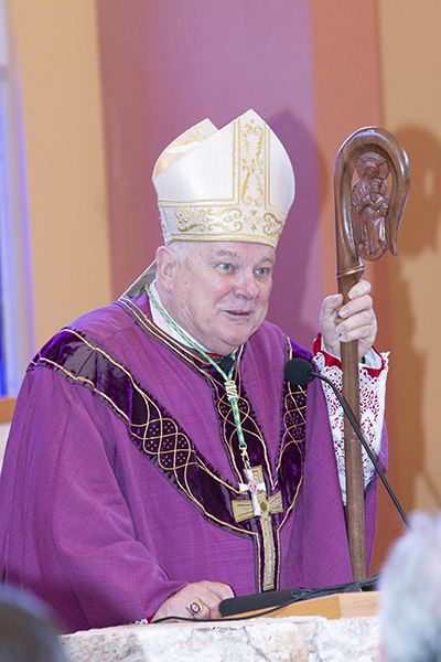 Archbishop Thomas Wenski preaches the homily at the Mass prior to the Inauguration of David A. Armstrong as 10th president of St. Thomas University, Miami Gardens, March 20, 2019.