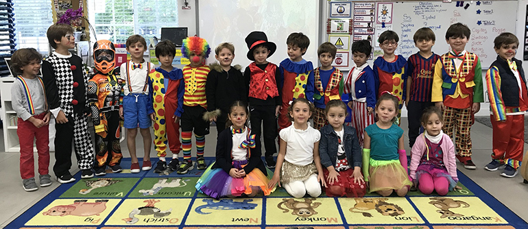 PreK4 students at St. Agnes School in Key Biscayne dress like circus performers after studying a unit on the circus.