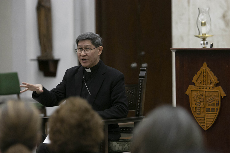 Cardinal Luis Antonio Tagle of Manila answers questions after his Fides et Radio lecture March 22 at St. John Vianney College Seminary, Miami.