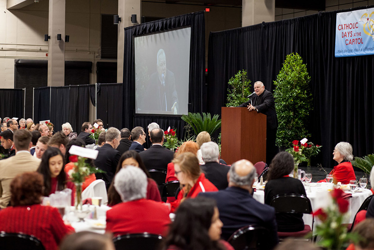Archbishop Thomas Wenski speaks to participants from throughout Florida who attended the Catholic Days at the Capitol luncheon with Florida's bishops.