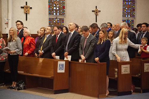 Legislators take part in the Red Mass of the Holy Spirit celebrated March 27, 2019 at the Co-Cathedral of St. Thomas More in Tallahassee.