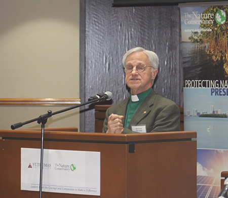 """Climate change is no longer an event of the future, it is happening right now,"" Rev. Dr. Jim Antal, of the Massachusetts Conference United Church of Christ, tells participants at the Second International Conference on Climate. He is a climate change activist and author of ""Climate Church, Climate World."""