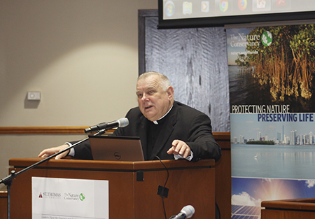 Archbishop Thomas Wenski speaks about Pope Francis' encyclical Laudato Si, during the Second International Conference on Climate, organized by St. Thomas University and The Nature Conservancy.