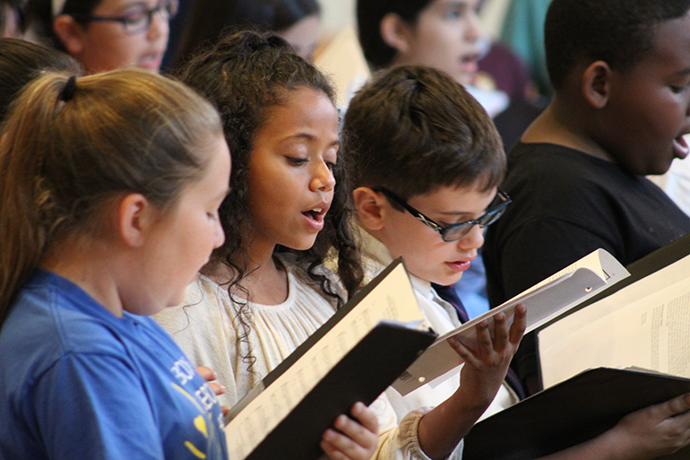 Students rehearse at the American Federation Pueri Cantores Miami Choral Festival and Mass, March 30 at St. Bonaventure Church in Davie.