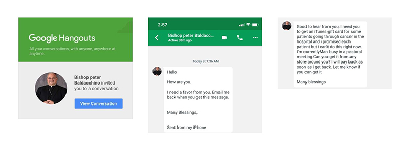 Also on Google Hangouts: A message purportedly sent by Auxiliary Bishop Peter Baldacchino, pastor of St. Kieran in Miami, to one of his parishioners.