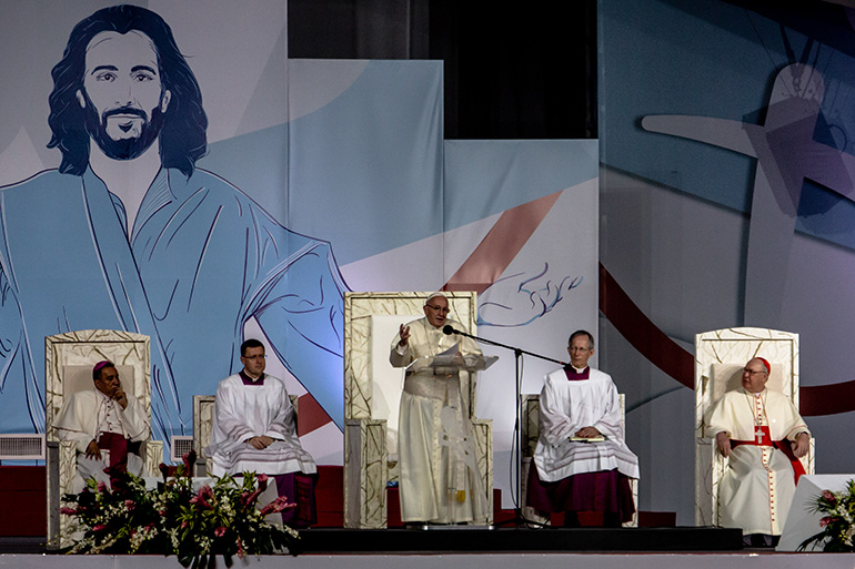 Pope Francis presides over the vigil ceremony and Eucharistic adoration with young people during World Youth Day in Panama City's Campo San Juan Pablo II, Jan. 26, 2019.