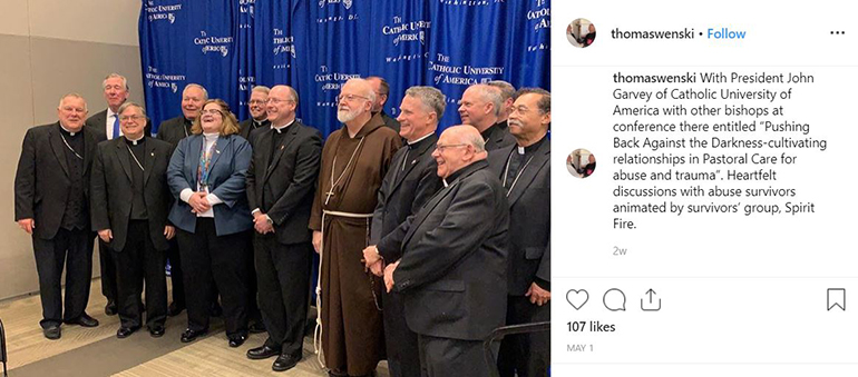 Archbishop Thomas Wenski posted this group photo on his Instagram account after taking part in the one-day meeting with survivors of sexual abuse at The Catholic University of America May 1, 2019.