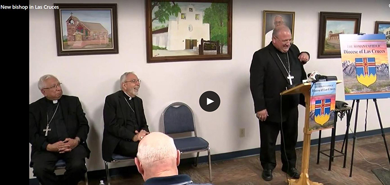 Screenshot of the KVIA livestreaming of the press conference May 15 in Las Cruces, where Bishop Peter Baldacchino was introduced to his new flock. Seated, from left: Las Cruces' first bishop, now Bishop Emeritus Ricardo Ramirez, and Bishop Gerald Kicanas, bishop emeritus of Tucson, Arizona, who served as apostolic administrator of Las Cruces for the past eight months. The diocese's second bishop, Bishop Oscar Cantu, was appointed coadjutor of the Diocese of San Jose, California.
