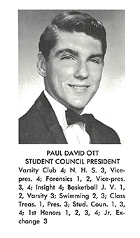Paul Ott, Cardinal Gibbons High School student council president, as seen in his senior yearbook.