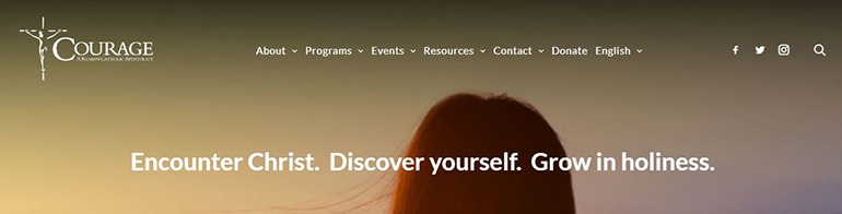 Screenshot of the top of the home page for Courage International, a Catholic ministry to people with same-sex attraction.