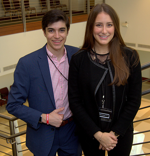 Students Daniel De Urbina and Alessia Cocconcelli helped muster and organize nearly 45 volunteers for TEDx, a recent forum of speeches and performances at St. Thomas Aquinas High School in Fort Lauderdale.