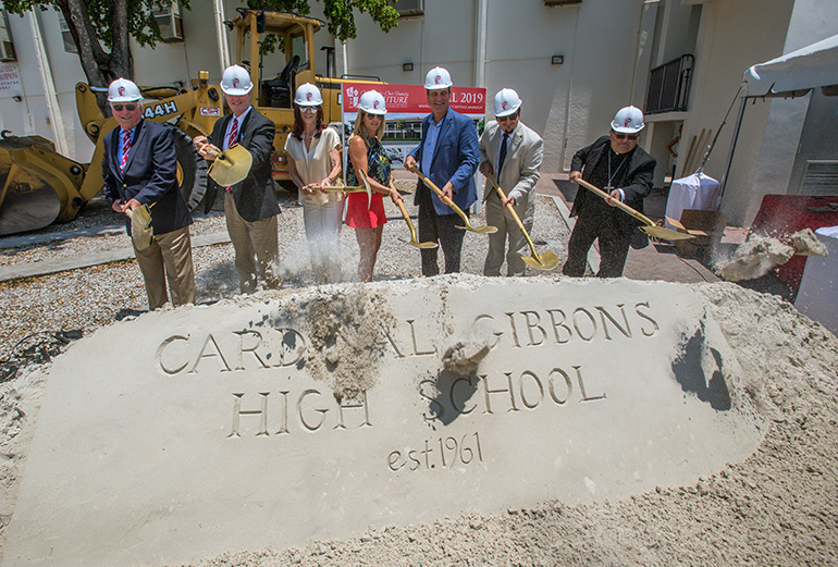 Turning shovels at the groundbreaking for Cardinal Gibbons High School's new STEAM Center, from left: Paul Ott, 1966 graduate and outgoing principal; Tom Mahon, new president; benefactors Susan Smith and Sharon Smith; Jack Seiler, 1981 graduate and former Fort Lauderdale mayor; Oscar Cedeno, incoming principal; and Bishop Enrique Delgado.