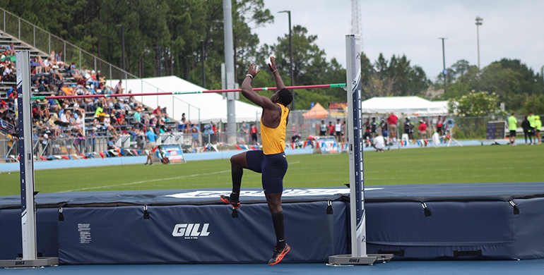 Belen Jesuit's Donald Chaney capped his high-school track career with his third state championship in the high jump. He won with a jump of 6-7.5, clearing every height in a single jump.