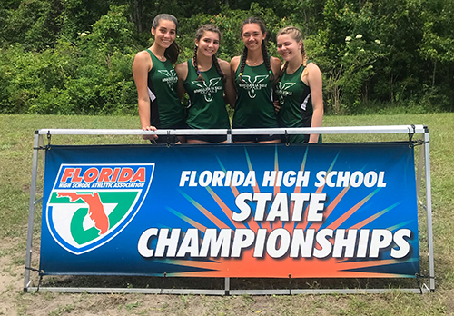 Immaculata-La Salle 4x100 relay team featuring, from left, freshman Hanah Gonzalez, junior Anabel Toledo, and seniors Stephanie Cuan and Natalie Zawadzki competed at the state championship meet in Jacksonville. The team started the competition in 19th place and finished in the top 14 with a time of 50.56, a team personal record seconds shy of the school record.