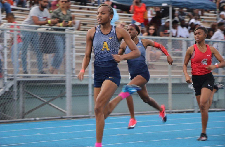 Emelia Chatfield was part of the St. Thomas Aquinas team that won the 4X400 relay at the Class 4A Florida Girls Track and Field Championships.