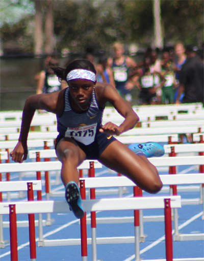 St. Thomas Aquinas' Eddiyah Frye won the girls long jump with a leap of 18 feet, 8 3/4 inches, and also took fifth in the 100 hurdles at the Class 4A Florida Girls Track and Field Championships.