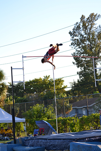 Cardinal Gibbons' Jimmy Nutt, seen here in action, cleared a height of 14-foot-9.25 in two attempts to take the individual state championship in Class 2A Florida Track and Field.