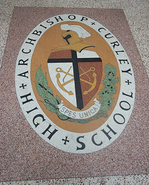 The seal of Archbishop Curley High School, founded along with all-girls Notre Dame Academy in 1953. The two schools merged into the Buena Vista campus of Archbishop Curley in 1981, then merged again with Msgr. Edward Pace High in Miami Gardens in the fall of 2017.