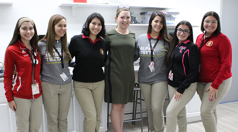 The Women in STEM at Pace: Graduating senior Vanessa Perez Robles created the Women in STEM Club for students interested in the field to talk, learn, support and inspire one another. Members pictured here, from left, re Kaylee Gonzalez, Guadalupe Diaz, Vanessa Perez Robles, science teacher and sponsor Bianca Acosta, Diana Cao, Anaiz Gonzalez and Emily Medina.