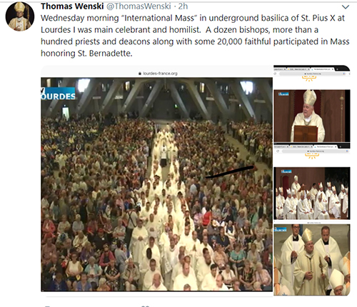 Archbishop Thomas Wenski posted these photos on his Twitter account (@ThomasWenski) after celebrating the July 3, 2019 International Mass at the underground basilica in Lourdes, France.