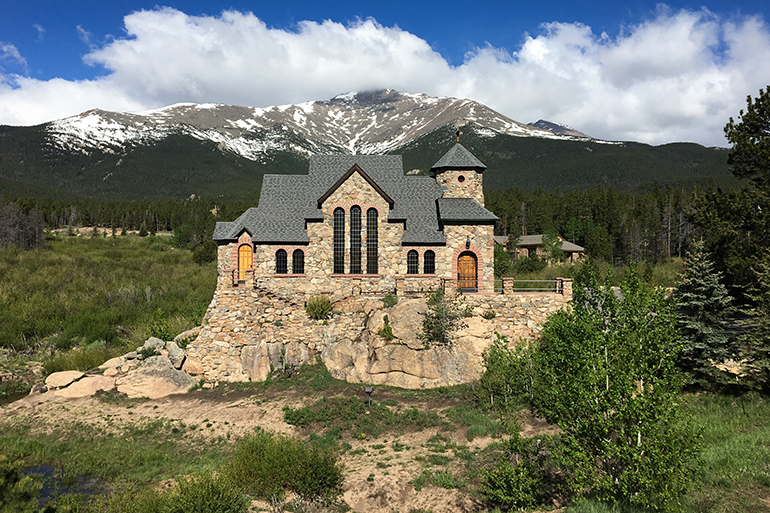 Chapel on the Rock (formally named St. Catherine of Siena Chapel) in Allenspark, Colorado, near Estes Park, is popular with summer campers and tourists to the Rocky Mountains.