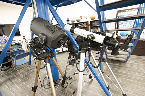 These are some of the array of telescopes used by astronomy students at Belen Jesuit Prep's observatory in Miami.