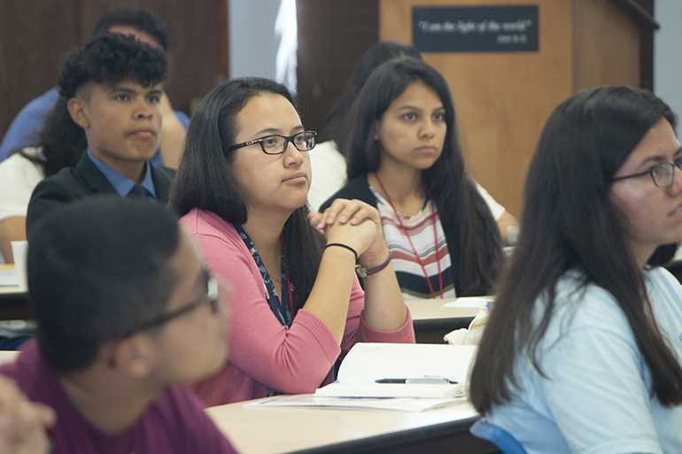 Participants at the Young Latino Summer Leadership Institute listen to talks by local Hispanic Catholic professionals during their July 20-26 stay at SEPI (Southeast Pastoral Institute).