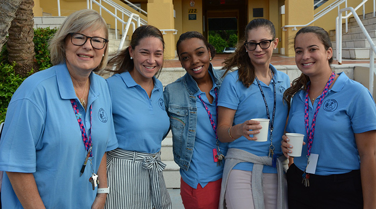 St. Agnes faculty and staff pause for a caffeine boost, from left: Maren Martinez, Ani Montero, Alexandria Rolle, Alejandra Permuy and Liana Romanach.