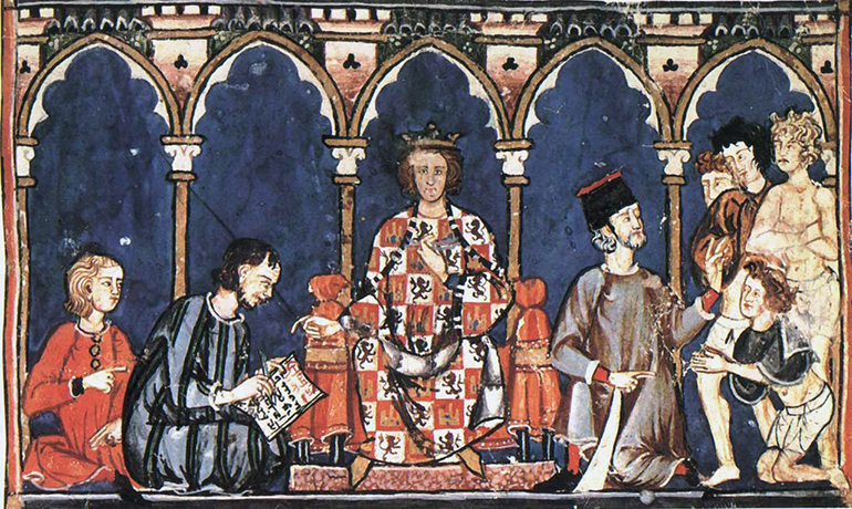 Alfonso X the Wise with his collaborators in the royal scriptorium.