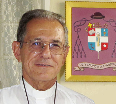 Archbishop Juan de la Caridad Garcia of Havana is among 13 new cardinals named Sept. 1 by Pope Francis. He was appointed archbishop of Havana April 26, 2016, succeeding Cardinal Jaime Ortega Alamino, who died July 26. Archbishop Garcia's motto, behind him, is