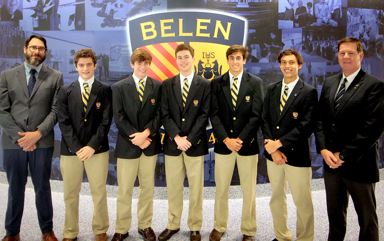 Five students of the Belen Jesuit Preparatory School in Miami, chosen as National Merit Commended Students, pose with school officials. At left is assistant principal Ramon Nicosia, with principal Jose E. Roca at the right.