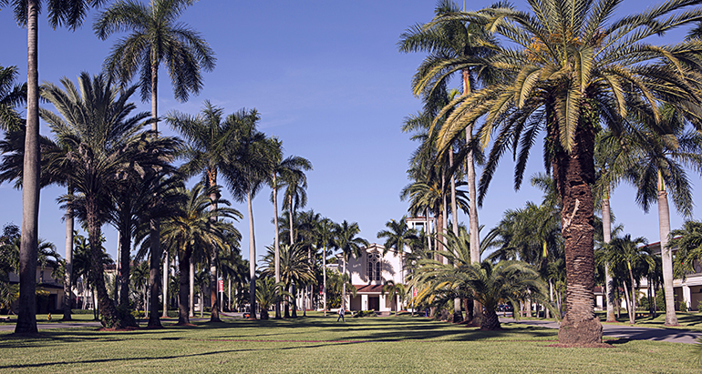 View of the mall at Barry University, with the Cor Jesu Chapel in the background.