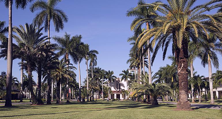 Vista de la Universidad Barry con la Capilla Cor Jesu al fondo.