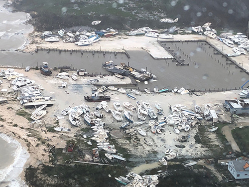 View of destruction wreaked by Dorian in the Bahamas as U.S. Coast Guard responded after the passage of Hurricane Dorian.