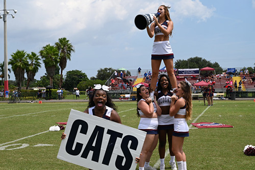 St. Thomas University cheerleaders root for the Bobcats at their first game Sept. 7.