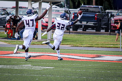 St. Thomas University Keiondre Gaulden returns a punt for a touchdown during the Bobcats' first win, on the second game of the season versus Union College in Kentucky.