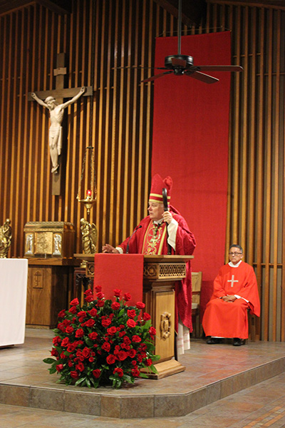 Archbishop Thomas Wenski preaches the homily during the Mass marking the opening of the academic year at the University of Miami. The Mass took place at St. Augustine Church and Catholic Student Center, just across from the UM campus, Sept. 15, 2019.