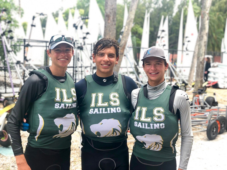 From left, Immaculata La Salle's sailing team members: sophomore Mitchell Callahan, junior Antonio Miranda, and sophomore Justin Callahan.