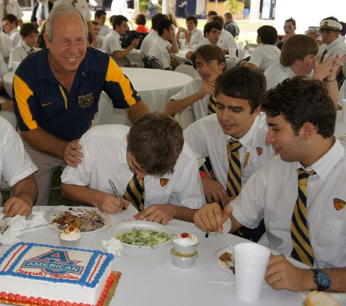 Belen Coach Carlos Barquin is seen here in a recent picture having some fun with his student athletes.