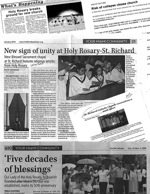 Collage of news clippings from Our Lady of the Holy Rosary and St. Richard parishes.