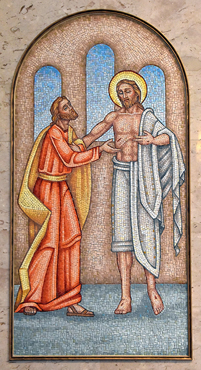 In this mosaic at Our Lady Queen of Heaven in North Lauderdale, the apostle Thomas is humbled as the resurrected Jesus shows the wounds he suffered on Calvary. The Bible says Thomas burst out with,