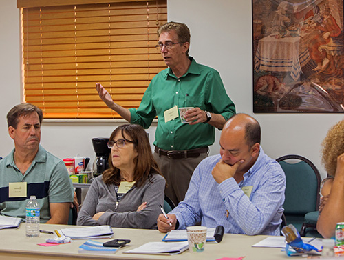 Dale Young, chaplain, speaks to the group gathered at St. Agnes Church Sept. 14 for the second day of a bereavement ministry training held at St. Agnes Church, Key Biscayne, Sept. 14.