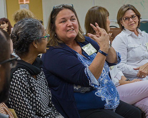 Sue DeFerrari, MorningStar Renewal Center director,  shares some thoughts during a group discussion at the Sept. 14 bereavement ministry training at St. Agnes Church, Key Biscayne.
