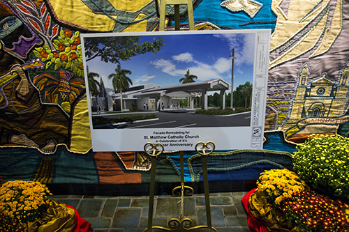 Rendering of a new entrance for St. Matthew Church is on display in the church during the parish's 60th anniversary celebration.