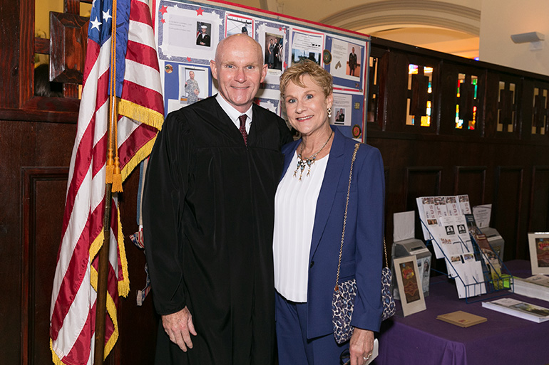 Judge Edward Merrigan of the 17th Judicial Circuit Court of Florida, also a Brigadier General in the U.S. Army Reserve, poses with his wife, Tamara Rimes-Merrigan, after attending the 30th annual Red Mass celebration of the St. Thomas More Society of South Florida at St. Anthony Church in Fort Lauderdale Sept. 26. Judge Merrigan was awarded the Society's annual Archbishop Edward A. McCarthy Award.