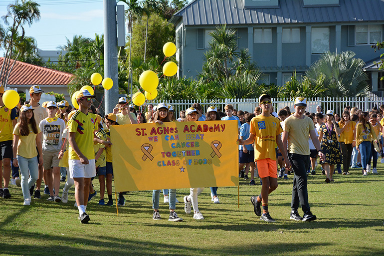The St. Agnes community walk-a-thon in honor of cancer survivors and victims.