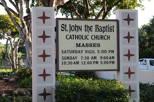 A sign welcomes worshipers to St. John the Baptist Church located in the northeast corner of Fort Lauderdale.
