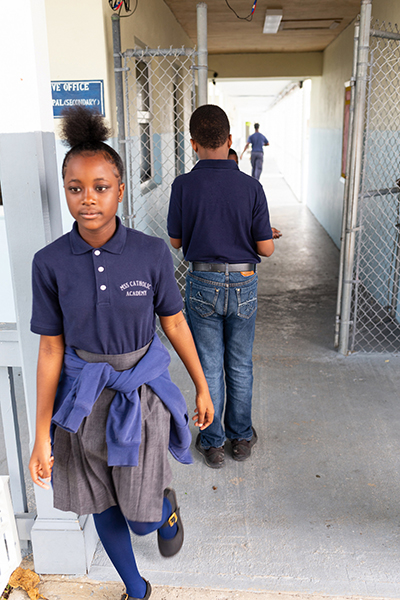 While local public schools had still not reopened a month after Hurricane Dorian, students are back in class at Mary, Star of the Sea Catholic Academy in Freeport, Grand Bahamas. The school leadership successfully navigated preparations and response to the historic disaster at the Catholic middle and high school.