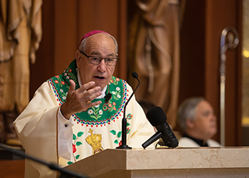 Bishop Felipe Estevez announces the elevation of Our Lady of La Leche to a national shrine during a Mass on the feast day of Our Lady of La Leche, Oct. 11. The Mass was celebrated in the shrine, which is located on the grounds of Mission Nombre de Dios in St. Augustine.