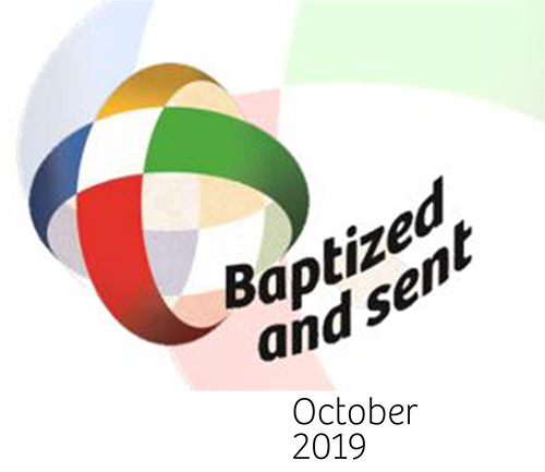The logo of the Extraordinary Missionary Month October 2019 is a missionary cross where the primary colors refer to the five continents. The Cross is the instrument and direct sign of communion between God and man for the universality of our mission, and through its vibrant colors, a sign of victory and resurrection. The world is transparent because the action of evangelization has no barriers or boundaries, it is the fruit of the Holy Spirit. Christian charity and the world transfigured in the Spirit overcome distances and open the horizon of our minds and hearts. The words Baptized and Sent next to the image indicate